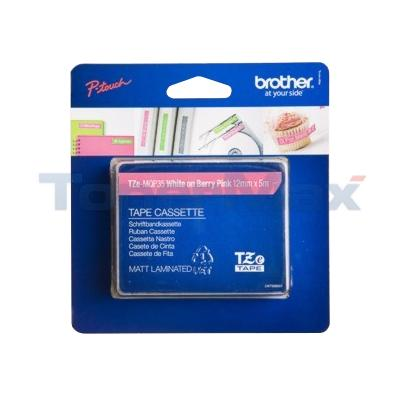 BROTHER TZ LAMINATED TAPE WHITE ON BERRY PINK 12 MM X 5 M
